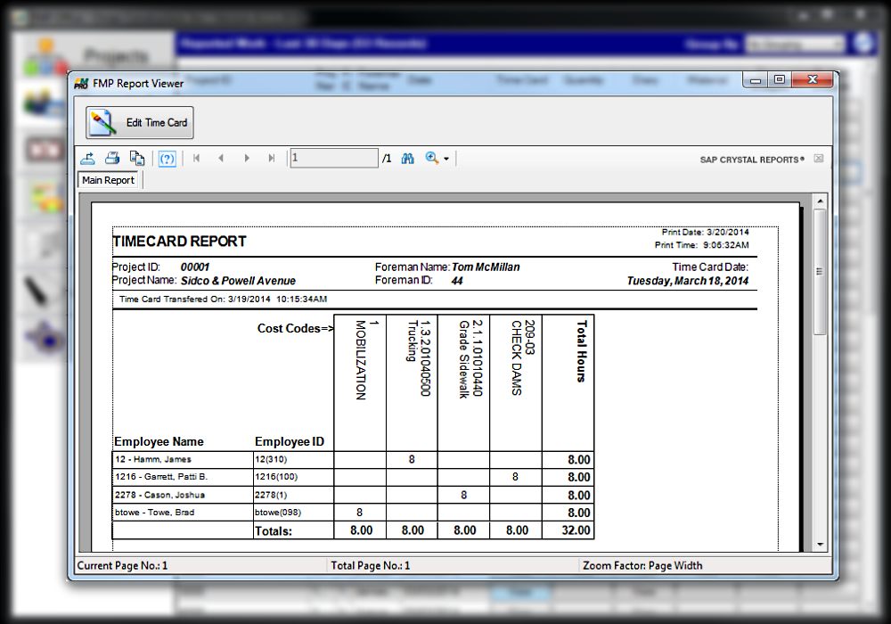 fmp office time card report - Electronic Time Card