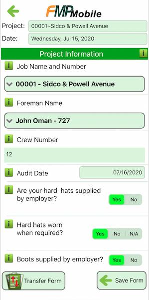 FMP Mobile Safety Form